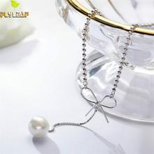 Flyleaf Pearl Fringe Bow Fashion Chain Real 925 Sterling Silver Choker Necklace Women Fine Jewelry Simple High Quality Wedding