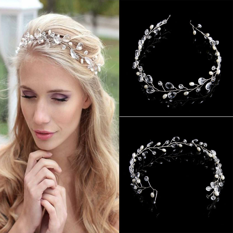 Vintage Faux Crystal Pearl Tiara Drop Bridal Headband Weddins