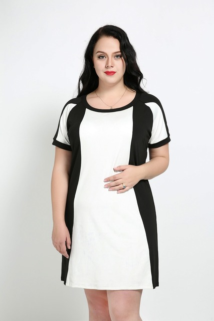 Womens Sexy O Neck Plus Size White And Black Casual Dress Short