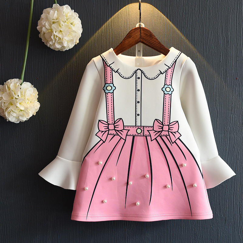 girls dress 2019 new spring and autumn long-sleeved pearl A cute cartoon 2-4-6-8 years baby