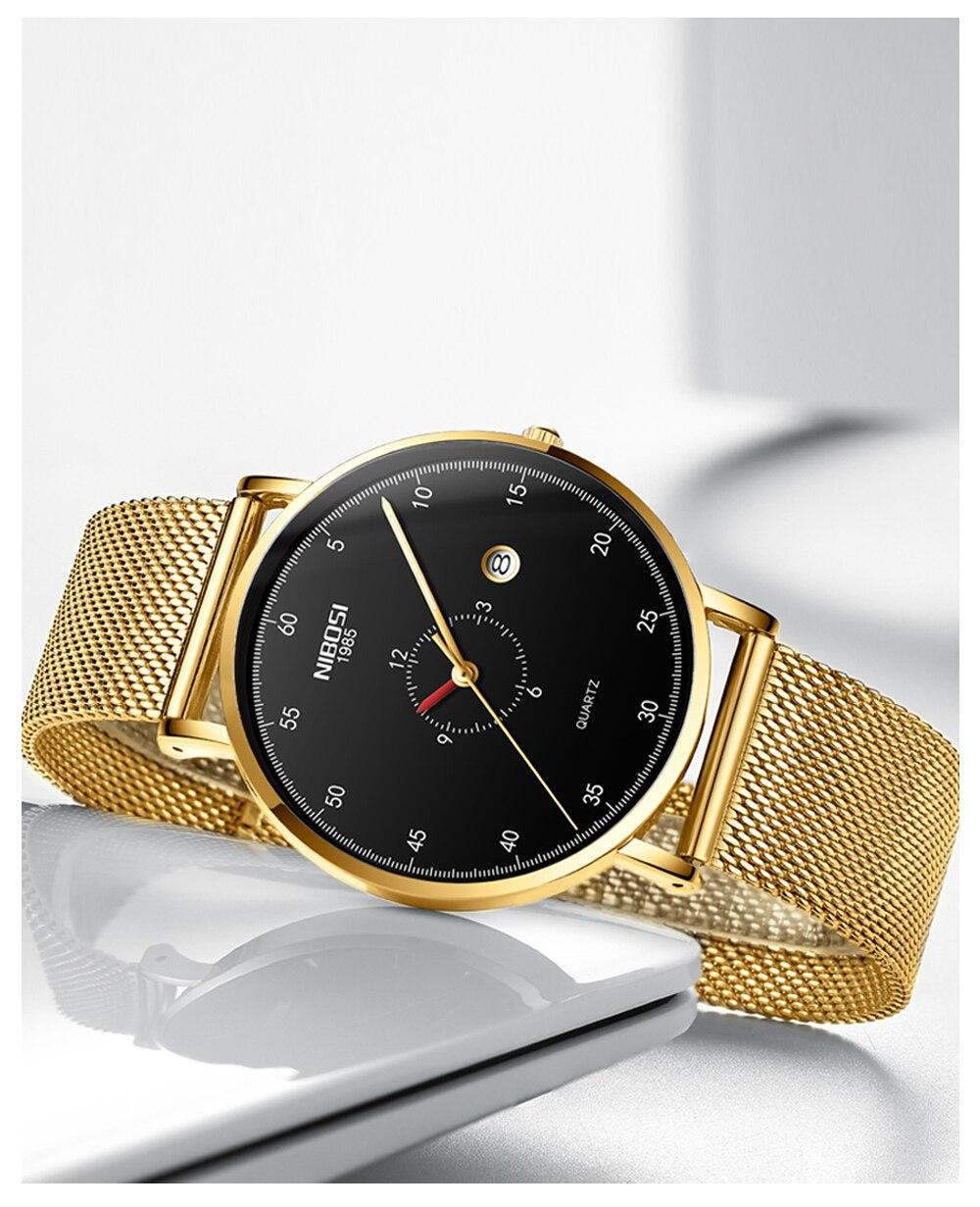 Erkek Kol Saati NIBOSI Men Watch Women Top Brand Luxury 2019 Thin Watches For Men Waterproof Black Wristwatch Female (12)