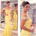 Vestidos de festa Sheer Scoop neckline Short sleeves Sexy Long Mermaid Yellow Lace Evening dress 2017 Women Formal Prom gowns
