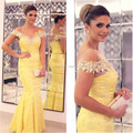 Vestidos de fiesta Sheer Scoop escote manga Corta vestido Largo Atractivo de La Sirena Amarillo vestido de Noche de Encaje 2017 Mujeres Formal Prom vestidos