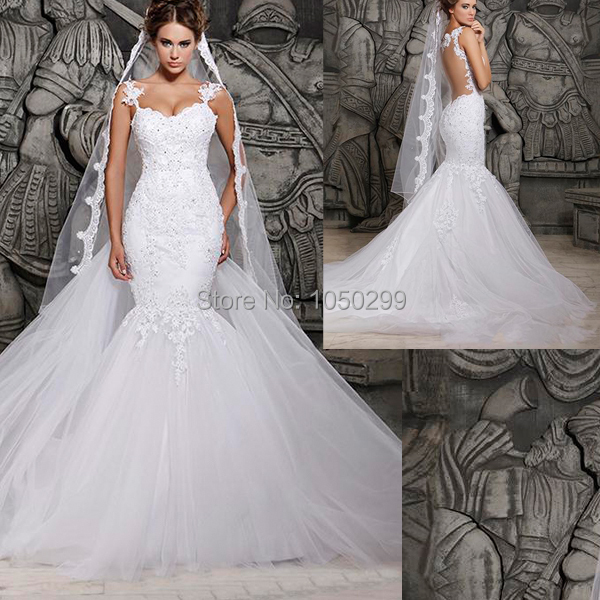 2015 Fashionable White Bridal Gown Spaghetti Strap Fitted Bodice Wedding Dress Mermaid Lace Long Train