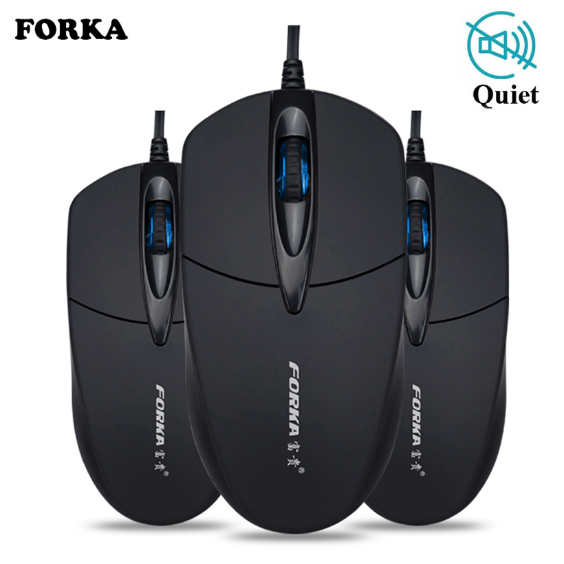 Forka Silent/Sound Click Mini Wired Portable Mute Desk Optical Mouse Mice For PC
