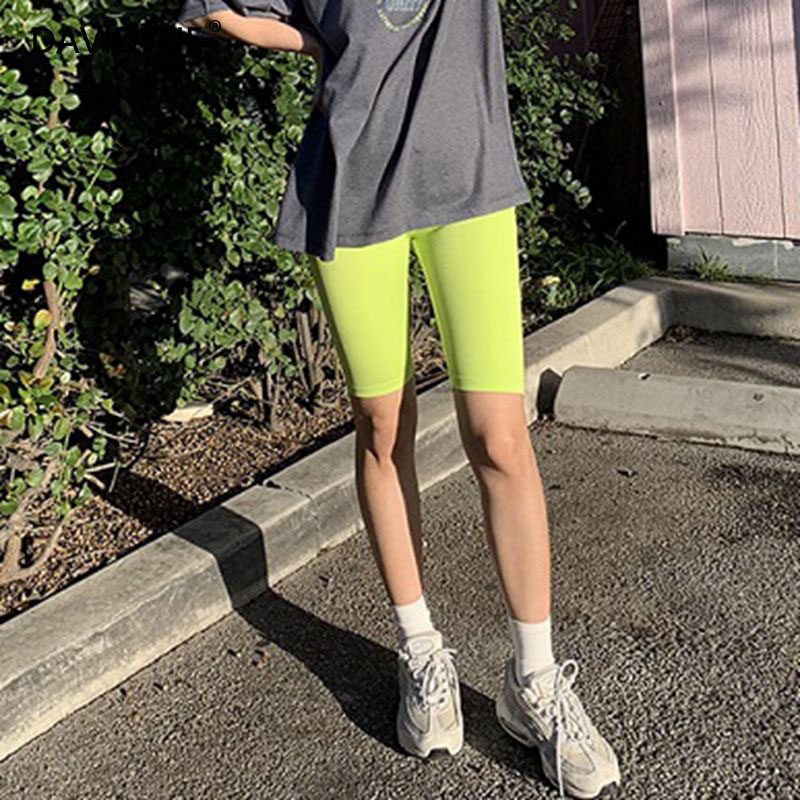 Summer Shorts Chic Reflective Biker Shorts Women High Waist Shorts 2019 Sweatpants Jogger Elastic Black Shorts Korean Streetwear