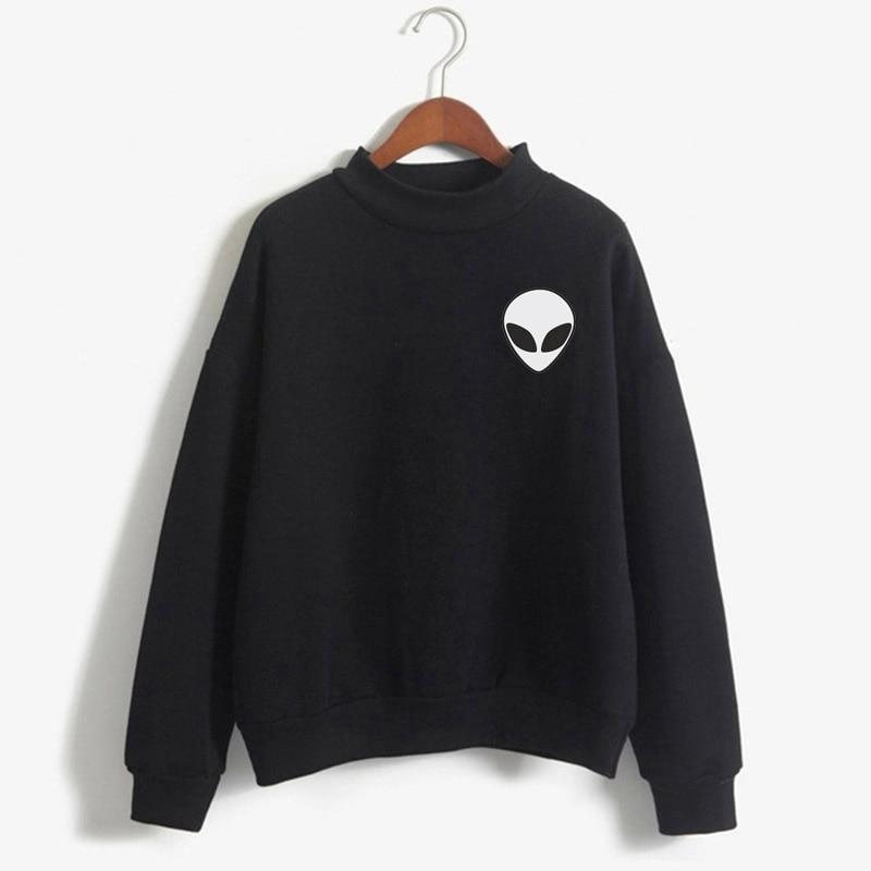 Unisex Crewneck Sweatshirt Sweatshirt, Tee, Gift, Portrait, Alien Head, Avatar, UFO, Mars, Alien, Character, Funny, Happy,