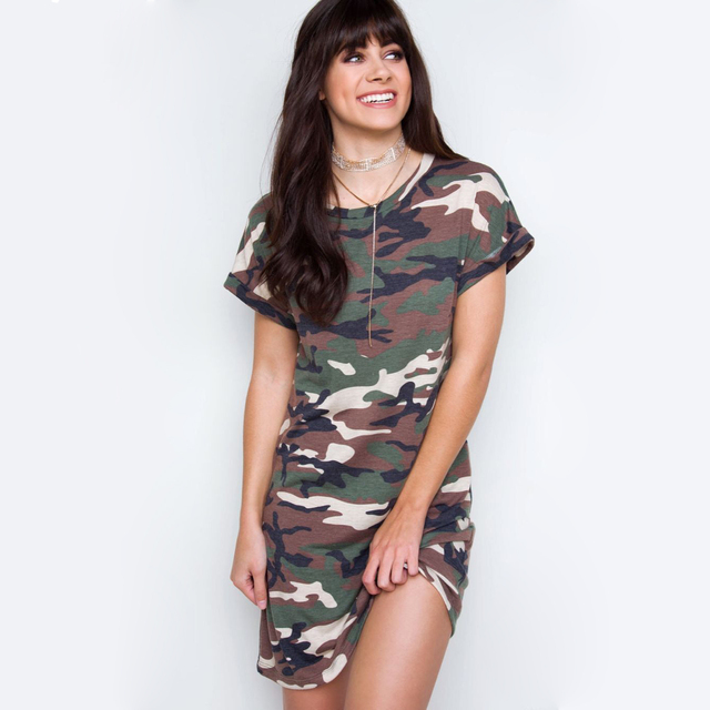 1cb25bacac6 Camo Tshirt Dress Mini Hot Girls Army Camouflage Loose Cotton T Shirt  Dresses kendall jenner Dress Women Summer Casual Tunic New
