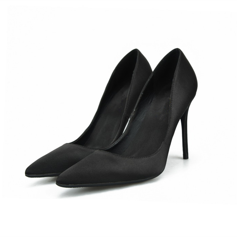 2018 Women Satin Silk Pump 6/8/10CM Stiletto High Heels Wedding Dress Shoes Pointed Toe Slip-on Pumps Plus Size 35-46 Black Red лосьон лосьон the sampar sampar 100ml