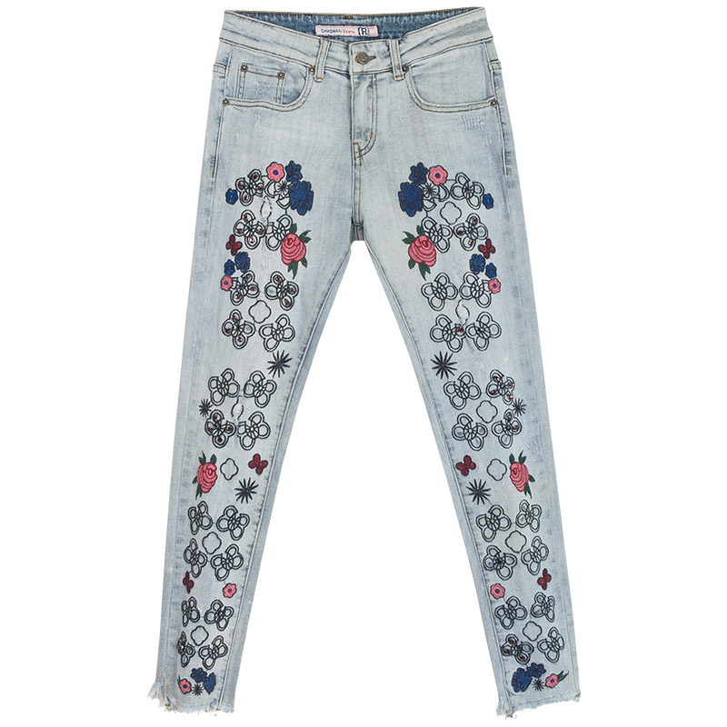 Spring Summer Womens Embroidery Tassel Rhinestone Beading Denim Pencil Trousers , Casual Stretch Female Fall Slim Jeans Pants