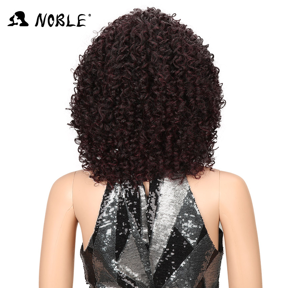 Noble Hair Short Curly Syntetisk Paryk 14 tums Ombre 99J Curly Parys - Syntetiskt hår - Foto 4