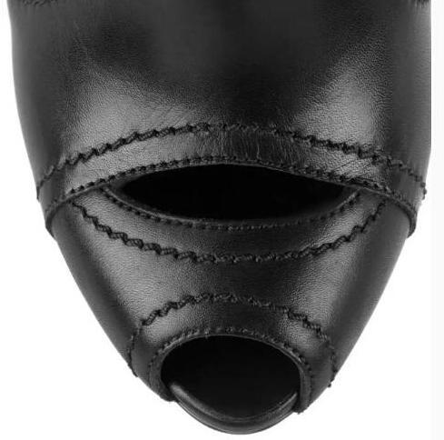 Cut Chevalier Lisse Cuir Noir Peep Bottes Sexy Hauts En De Toe À Femmes Cheville La Talons Dames Féminine Style Out Boucles Mode 8AaxFa