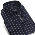 CAIZIYIJIA 2017 мужская Контрастные Темно-Синий/белый Полосатый Рубашки Хлопкового Бизнеса Slim-fit С Длинным Рукавом Кнопку-вниз Рубашка