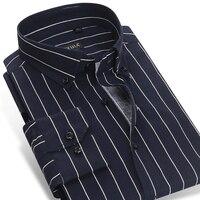Hommes de Contraste Marine Bleu/blanc Rayé Robe Chemises Pur Coton Mâle Mince Smart Casual Slim-fit Long manches Bouton-vers le bas Chemise