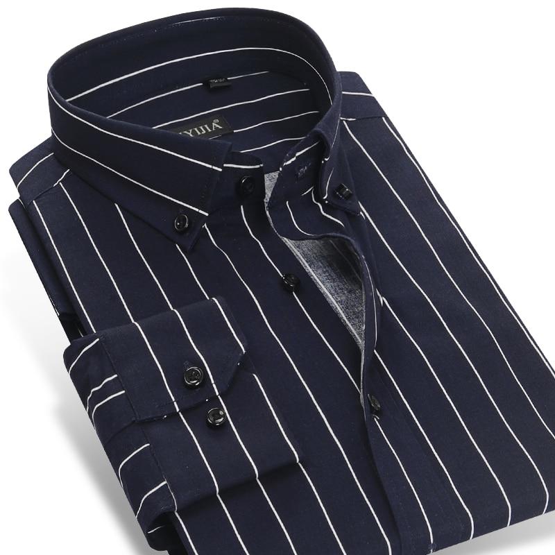 Kontrastfarbene Herren Dunkelblaue / weiße gestreifte Businesshemden Aus reiner Baumwolle Männlich Dünn Beiläufig Slim Fit Hemd