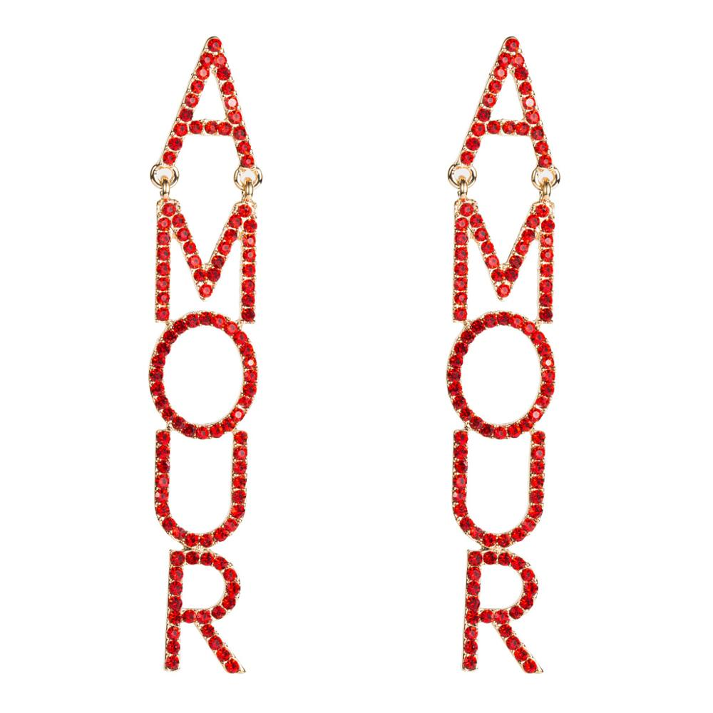 Fashion Brand Red Rhinestone Letters Dangle Earrings for Women Jewelry Pub Club Style Statement Earrings Accessories WholesaleFashion Brand Red Rhinestone Letters Dangle Earrings for Women Jewelry Pub Club Style Statement Earrings Accessories Wholesale