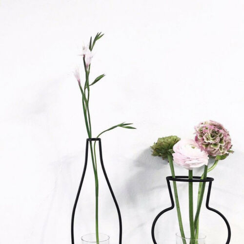 Image 4 - Creative Art Style Retro Iron Line Flowers Vase Metal Plant Holder Modern Solid Nordic Styles Iron Vase Home Art Garden Decor-in Vases from Home & Garden