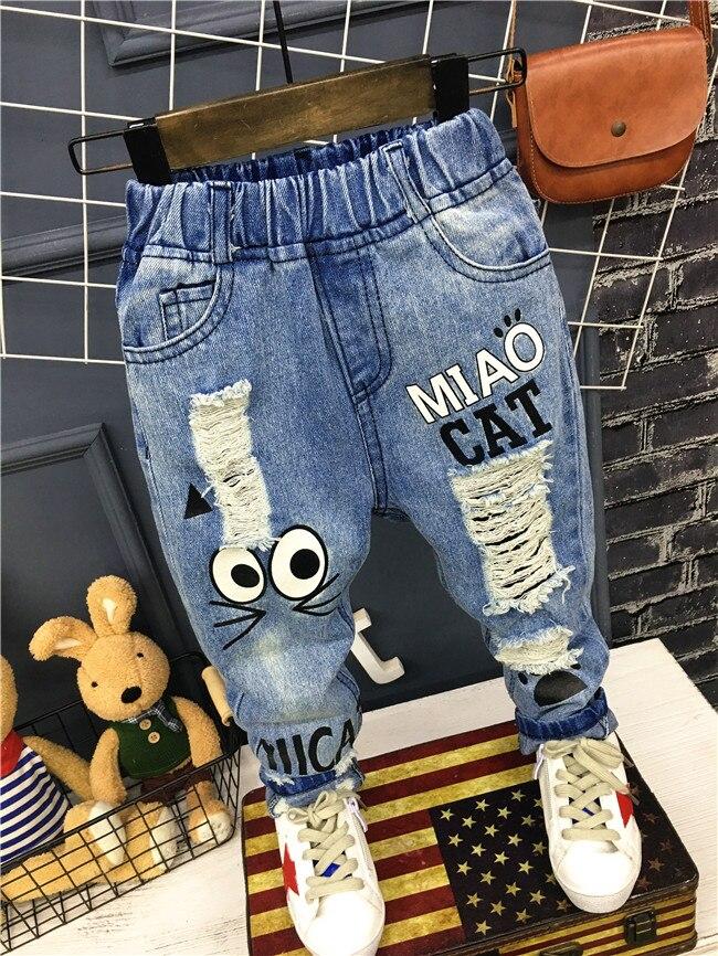 Для маленьких мальчиков джинсы для девочек новые 2019 детские брюки 1 7Yrs джинсовая одежда для мальчиков и девочек брюки для мальчиков для ежедневной носки с рисунком кота из мультфильма джинсы для детей|jeans for kids|girls jeansjeans boys | АлиЭкспресс