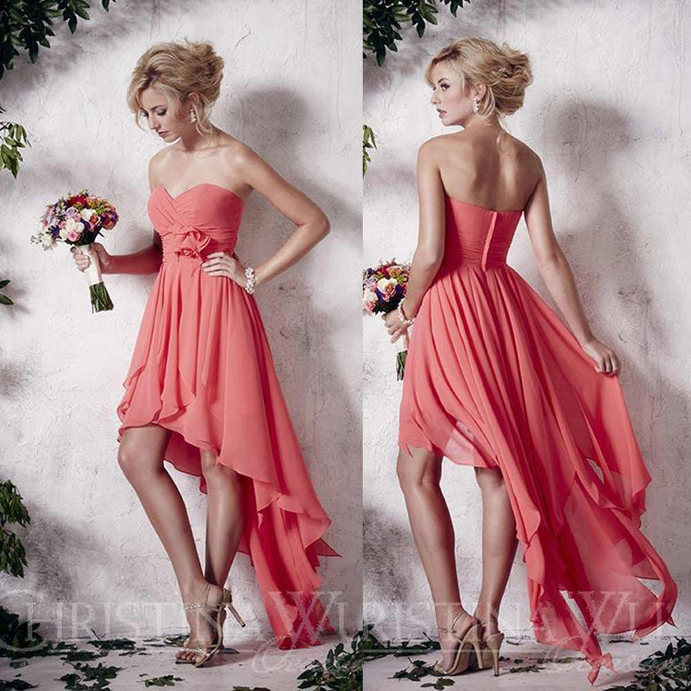 Vestido Madrinha De Casamento 2015 Water Melon Coral Strapless High Low  Bridesmaid Dress Chiffon Dresses For 8ac1923b79f9