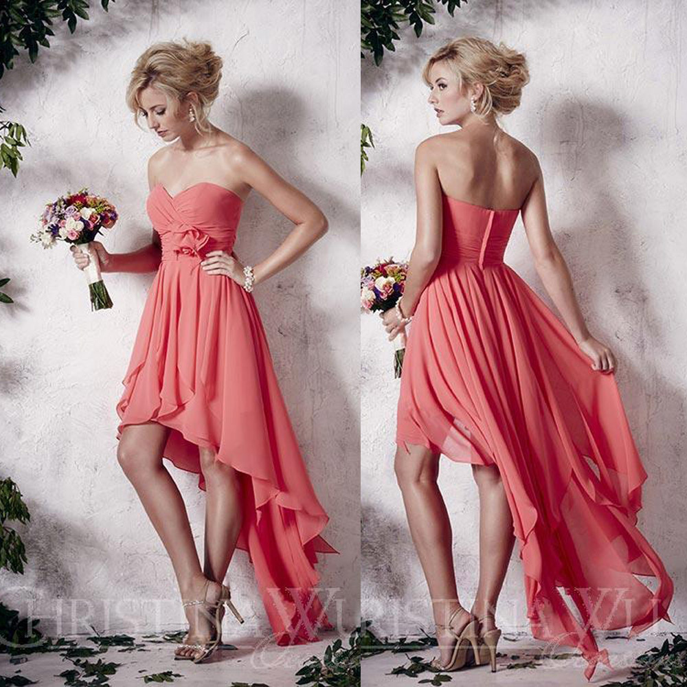Compra strapless chiffon high low dress y disfruta del envío ...