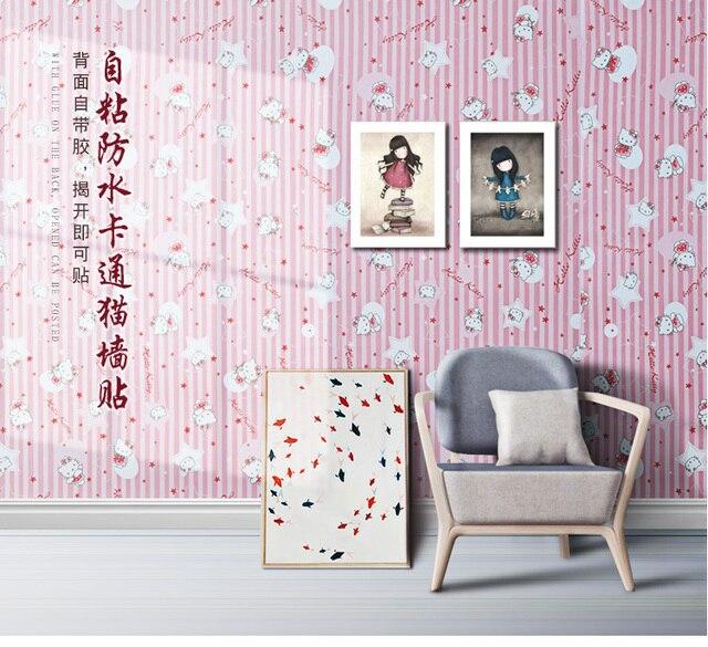 Pink Hello Kitty Cat Striped Self Adhesive Waterproof Wallpaper Dorm
