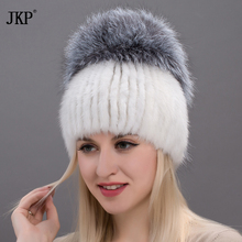 Women skullies genuine winter fur hat mink fur with silver fox pompoms top hats sale hot sale elastic fur cap  DHY17-26CX недорго, оригинальная цена