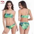 Bikini Triangulo Push Up 2017 Mujer Trajes de Baño Más El Tamaño M-6XL de Fertilizantes Un Hombro Impreso Bikini Sexy traje de Baño