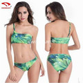 Bikini Triangulo Push Up 2017 Woman Bathing Suits Plus Size Fertilizer M-6XL One Shoulder Printed Bikini Sexy Swimsuit