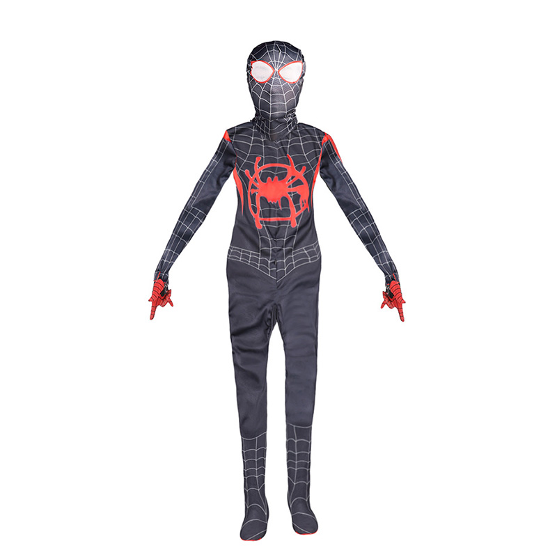 Children Boys Gilrs Spider-Man Into the Spider Verse Miles Morales Cosplay Costume Kids Spiderman Bodysuit Suit Jumpsuits