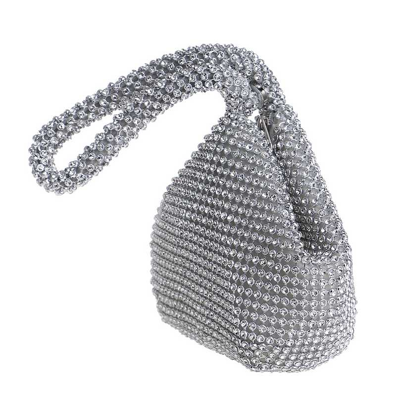 GLOIG New Arrival Soft Women Evening Bags Rhinestones Small Day Clutches Silver Black Gold Crystal Wedding Party Handbags Purse