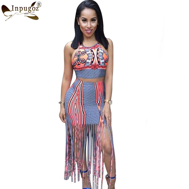 Summer Beach Tassel Dress Women Vintage Halter 2 Pieces Suits Sun