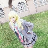 Your Lie in April Miyazono Kaori Arima Kousei Cosplay Japanese Anime School Uniforms Halloween Suit(Coat + Skirt + Tie+shirt)