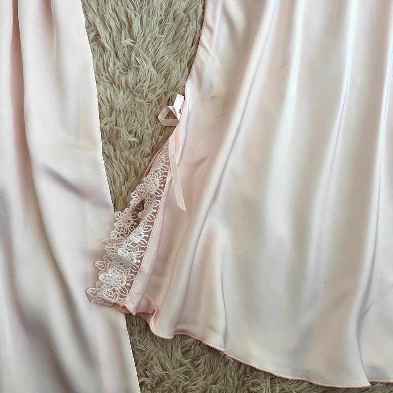 Новое поступление женский ночной банный халат из искусственного шелка с кружевом нижнее белье кимоно сорочка Платье + халат женский халат комплект M L XL XXL домашний костюм