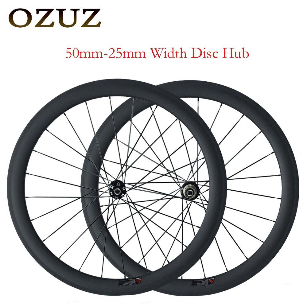 все цены на OZUZ 38mm 50mm Depth Cycling Carbon Wheels 25mm Width Clincher Disc Brake Hub Carbon Wheels 3K Matte 3K Glossy Bicycle онлайн