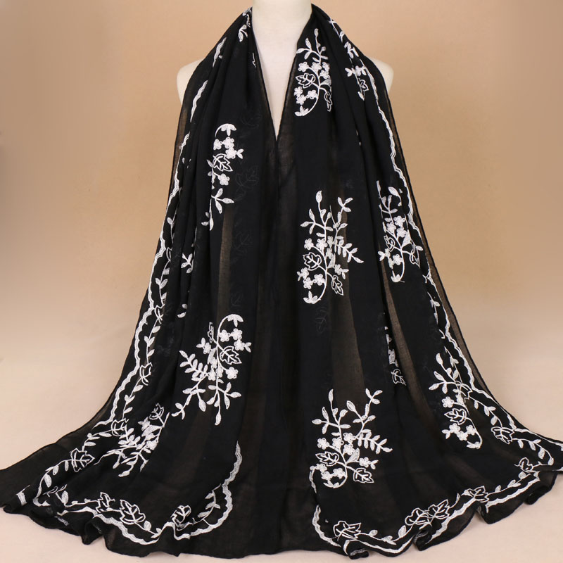 2018 Women Plain Embroider Floral Viscose Scarf Brand Printe Shawls And Wraps Lady Pashmina Stoles Muslim Hijab Foulards Sjaal