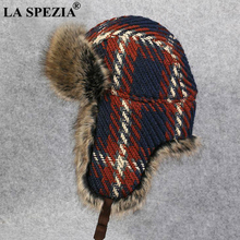 LA SPEZIA Russian Fur Hat Ushanka Women Bomber Earflap Red Checkered Warm Thick Womens Winter Trapper
