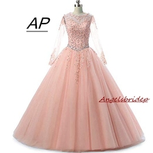 Quinceanera-Dress Celebrity Debutante-Gown Long-Sleeves ANGELSBRIDEP Sweet 16 Applique
