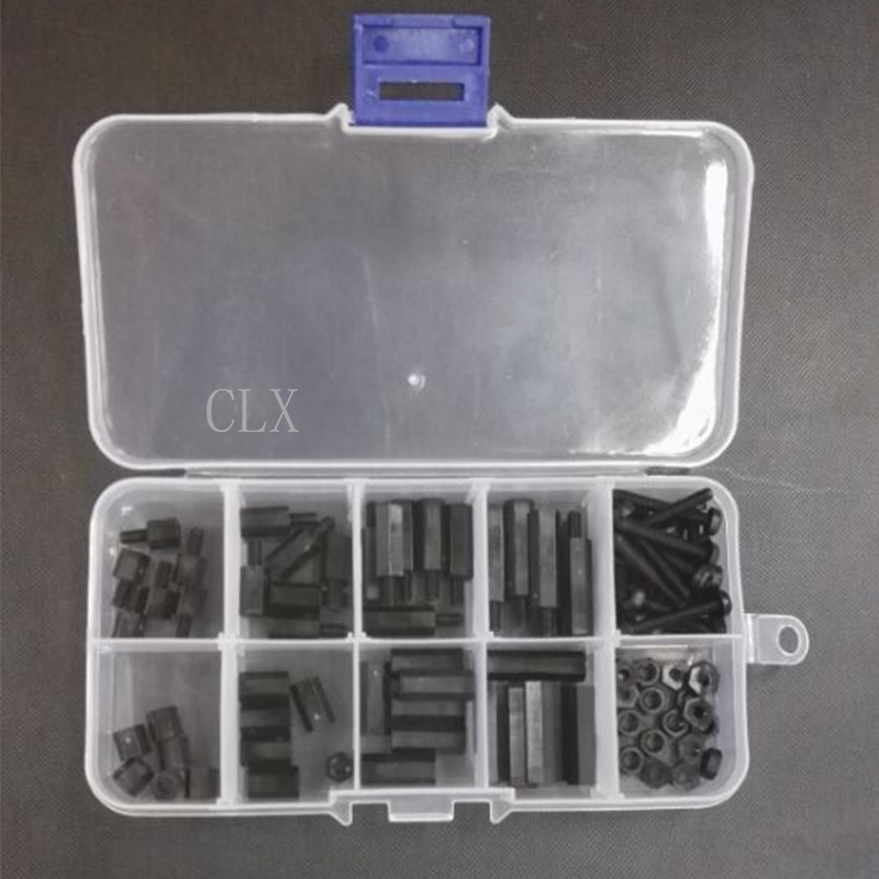 88 Pcs M3 Nylon Hex Spacers Screw Nut Stand-off Assortment Kit Black
