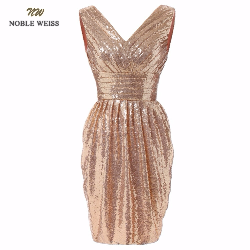 NOBLE WEISS Prom Dresses Hot Sale Short Party Dresses 2019 Party New Fashion V-Neck Real Photo Sequin Prom Gown