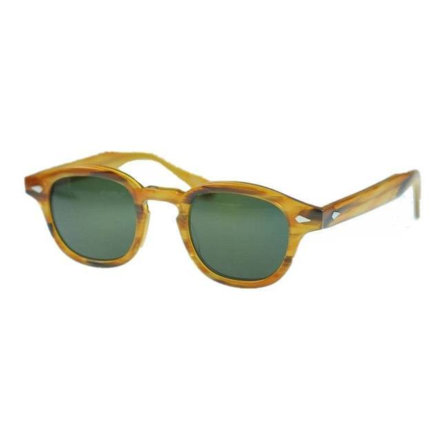Free shipping 2016 new arrivel Retro Vintage Johnny sunglasses Blonde frame with Green Polarized lens for man for women Unisex