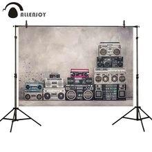 Allenjoy achtergronden voor fotografie studio Vintage school ontwerp boombox radio tape recorders achtergrond betonnen muur photocall