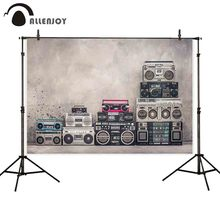Allenjoy backgrounds for photography studio Vintage school design boombox radio tape recorders backdrop concrete wall photocall