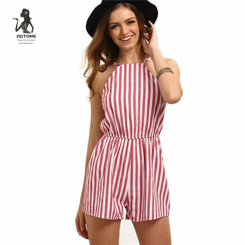 2020 Women Summer rompers womens jumpsuit shorts 2020 fashion Ladies Beach Striped Backless Playsuit Women's Bodysuits#LRSO