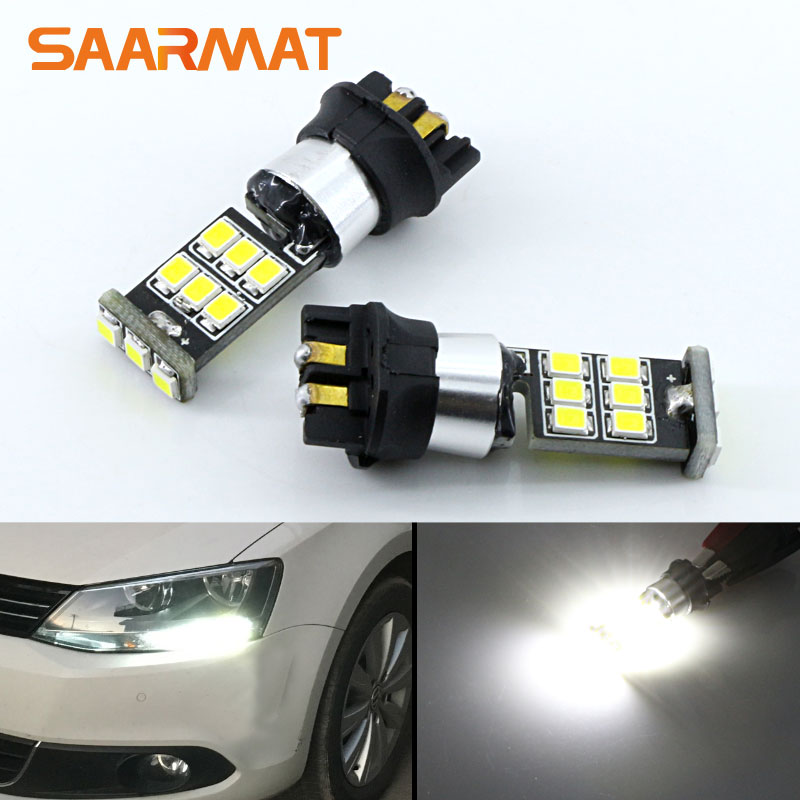 2Pcs White <font><b>PWY24W</b></font> PW24W 15-SMD LED Bulbs DRL Daytime Running Light Turn Signals For Audi A3 A4 A5 Q3 For VW MK7 Golf CC image