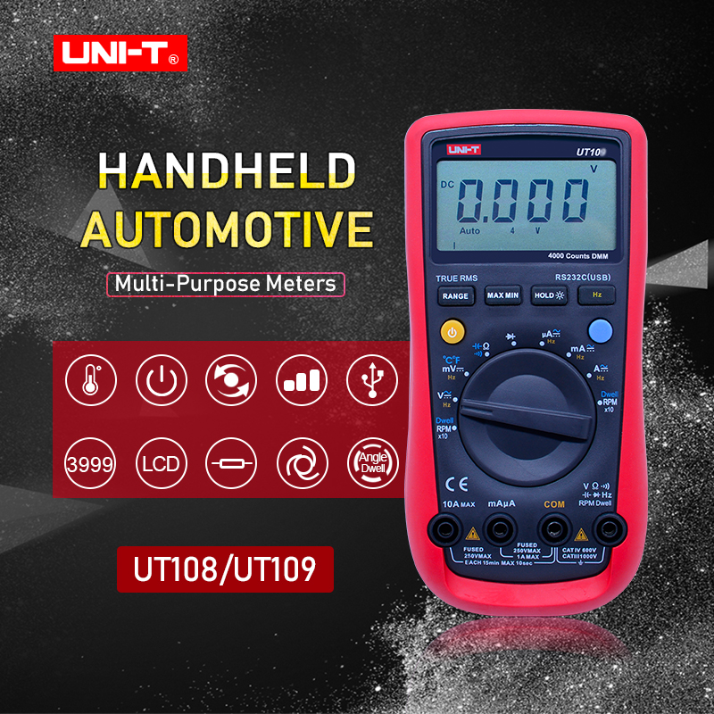 UNI-T UT108 UT109 3 3/4 Digital Multimeter AC DC voltmeter DC Ammeter digital manual ranging meter Resistance Capacitance Diode f47n multimeter pointer mechanical capacitance meter ammeter voltmeter pocket