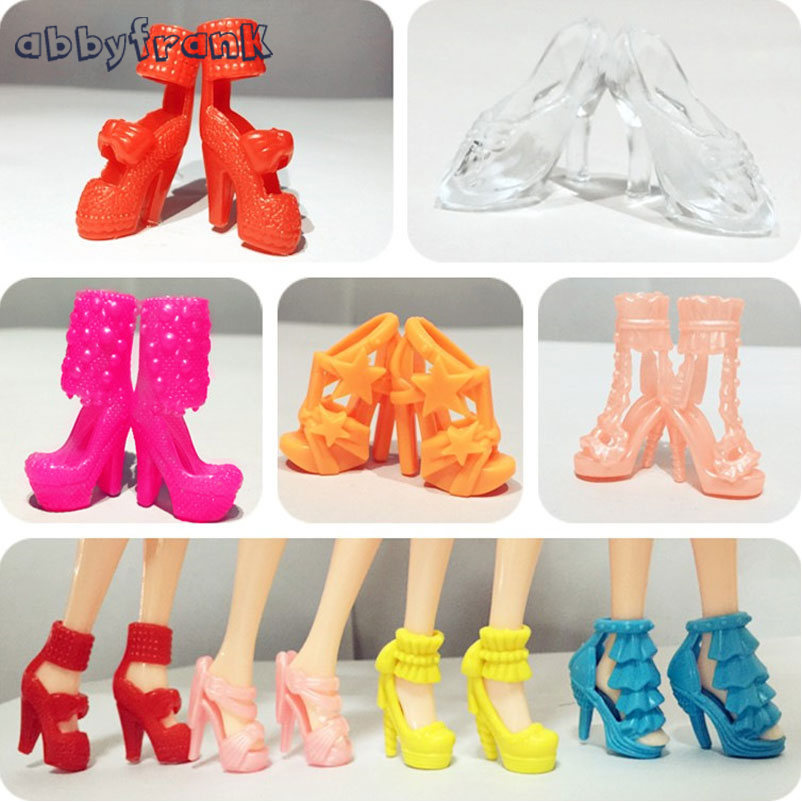 Abbyfrank 10 Pairs Mix Assorted Doll Shoes High Heels Multiple Styles Trendy Heels Sandals Dolls Accessories Doll Toys For Girl 500pairs lot wholesale high quality high heel shoes for 30cm dolls mixed styles sandals slippers 10pairs pack doll shoes pack