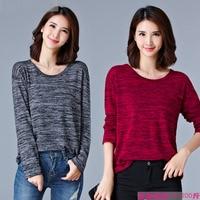 M 5XL Large Size Women Simple T Shirt Long Sleeve Cotton T Shirt 2017 Autumn Winter