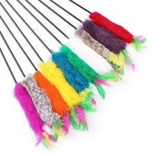 Cat toy rod with feather