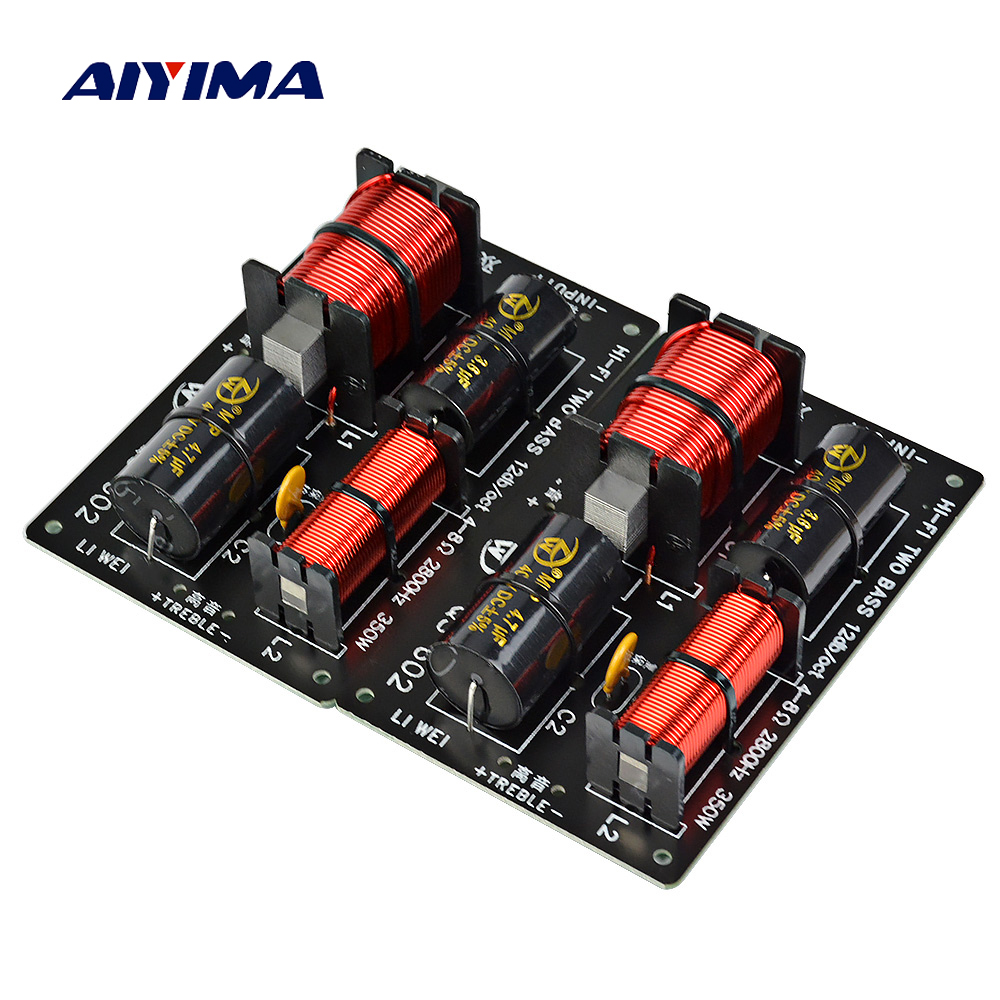 AIYIMA 2PCS 350W Speaker Crossover Treble +Dual Bass 2 Ways Frequency Divider For 4-8Ohm Speaker Filter 12dB 2800Hz 700W