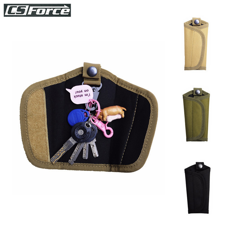 <font><b>CS</b></font> Force Tactical Key Pouch Belt Pouch Outdoor Waterproof Men EDC Pouch Key Holder Carabiner <font><b>Keychain</b></font> Case Leather 600D Nylon image